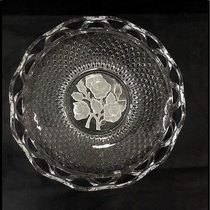 Dish with glass lace rim & frosted roses.